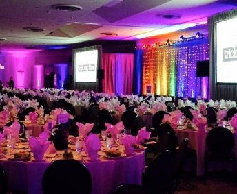 indoor stage setup and AV production for palm springs gala fundraiser