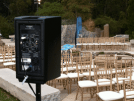 Speaker rental setup for wedding in Berkeley.
