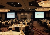 Indoor Avista AV setup for healthcare  client at the Marriott Walnut Creek, CA, including projector screens and lighting.