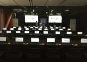 computer monitors setup for google small business event.