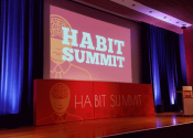 Projection and lighting on stage for Habit Summit 2017.