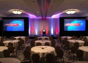 Ballroom setup for corporate sales conference at San Diego hotel.