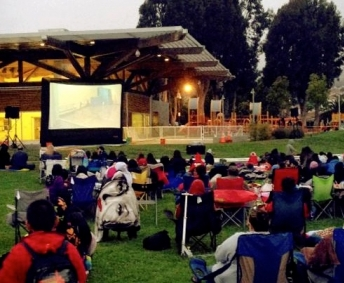 Outdoor movie in south San Francisco