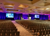 Ballroom audio visual setup and ready for conference general session