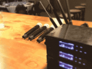 microphones laid out on hotel conference table
