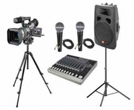 Sound system components for webcasting and video, including speaker, camera and tripod, microphones and sound board.