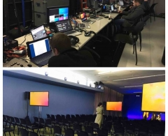 Webcast production with technician and displays