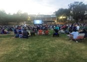 people on grass watching outdoor movie in hermosa beach