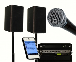iPlay sound system components, including iPhone, wireless microphone, speakers and mixer.