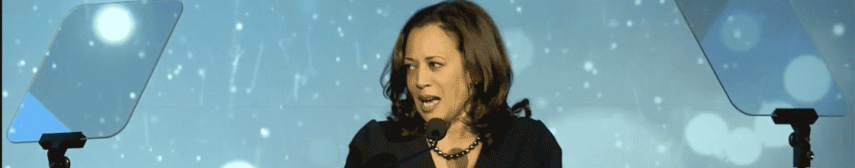 Kamala Harris delivering speech using a teleprompter.