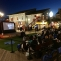 Outdoor movie being projected at Pier 39 in San Francisco.