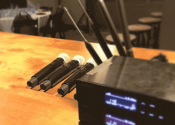 wireless microphones setup for panel discussion