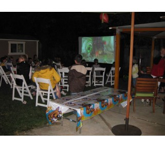 ... Outside Movie Projector And Screen Setup In Calabasas