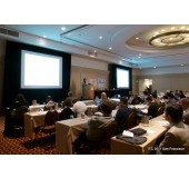 Projection Screen Rentals for Conferences San Francisco, San Jose, Oakland.  Photo Shows Screen with Full Dress Kit.