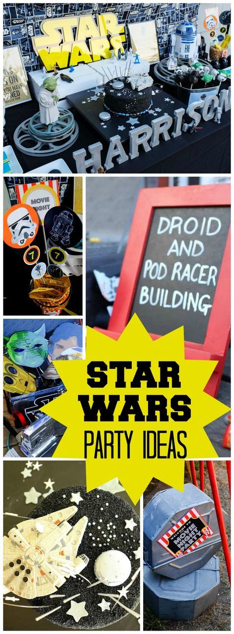 Collage of Star Wars party ideas.