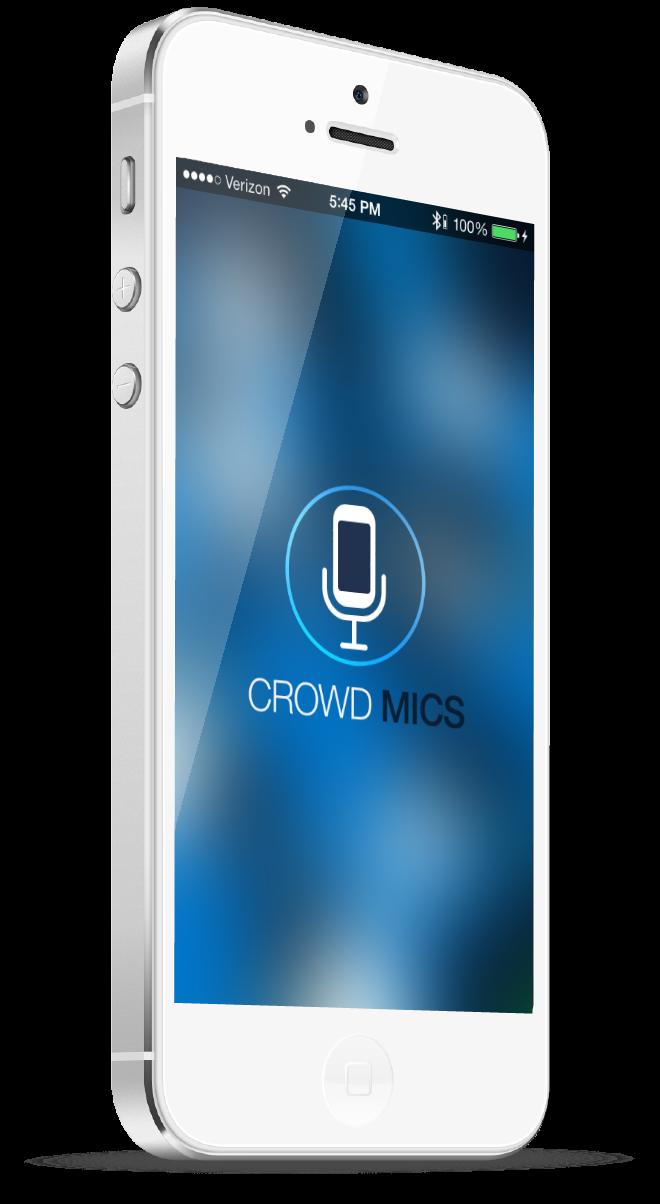 White iPhone displays Crowd Mics app.