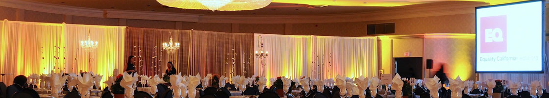 ballroom setup with lighting and projection screen