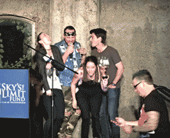people singing karaoke on stage at mountain winery