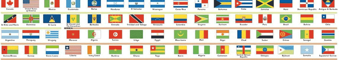 flags of the world representing languages of the world